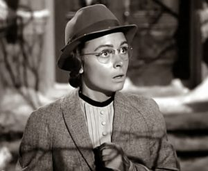 Mary as the Spinster Librarian in the second half of 'It's a Wonderful Life' (1946). This screenshot from the film is in the public domain.