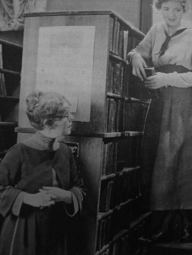Library ladder still from A Lost Romance (1921), from the Tevis book