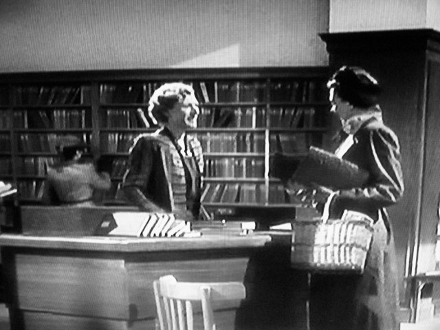 Screenshot of Boots Lending Library and librarian in 'Brief Encounter' (1945)