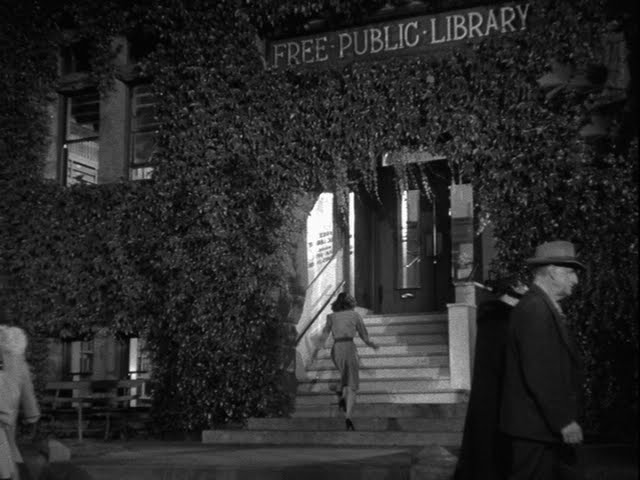 Ivy-covered exterior of the Santa Rose Carnegie library, 1943, as seen in 'Shadow of a Doubt'