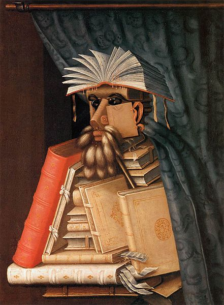 """The Librarian"" by Giuseppe Arcimboldo, circa 1570 (public domain)"