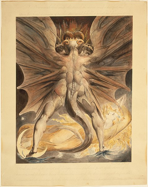 William Blake (British, 1757-1827) The Great Red Dragon and the Woman Clothed in Sun (Rev. 12: 1-4), ca. 1803-1805, is in the public domain