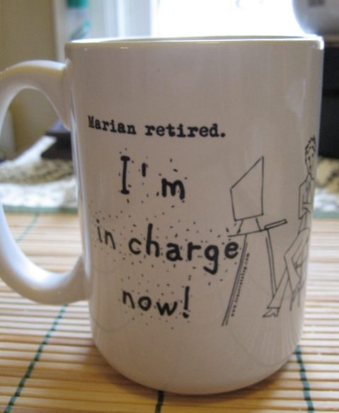 Marian retired coffee cup
