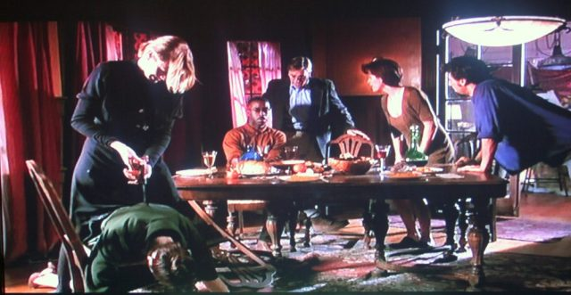 The Illiterate Librarian in The Last Supper (1995) gets knifed in the back