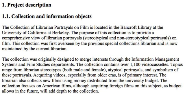 Project collection description