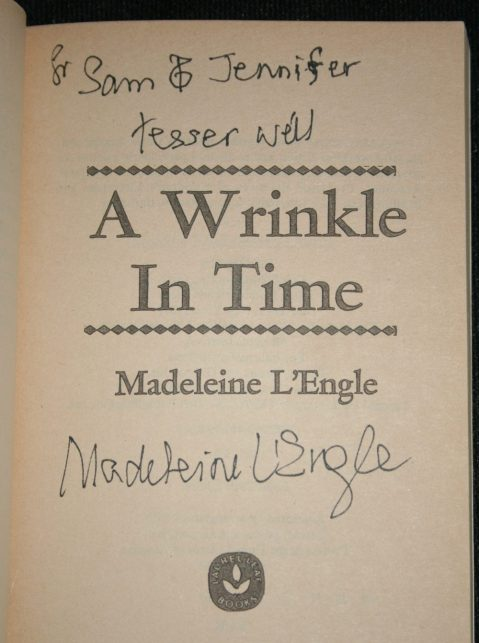 Our autographed copy of A Wrinkle In Time