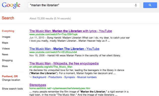 Google search for 'Marian the Librarian'