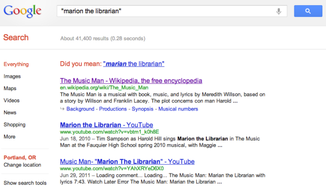 Google search for 'Marion the Librarian'