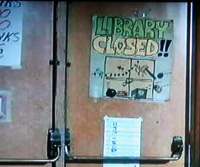 Library sign in The Last American Virgin