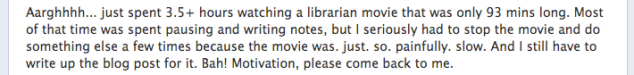 Facebook status about Tale of a Vampire