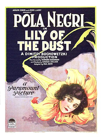 Poster for Lily of the Dust, 1924, is in the public domain
