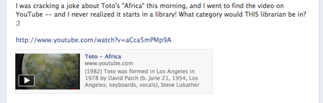 Facebook post about Toto's Africa song