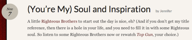 Screenshot from Soul and inspiration post