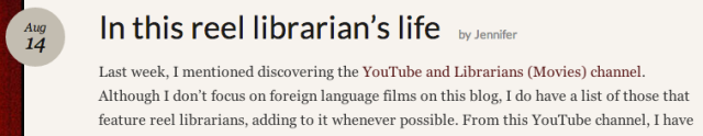 Reel Librarians:  In this reel librarian's life screenshot