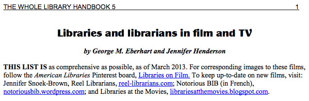 Whole Library Handbook 5 section on Libraries and librarians in film and TV