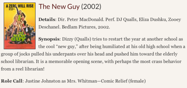 Reel Librarians:  Citation entry for 'The New Guy'