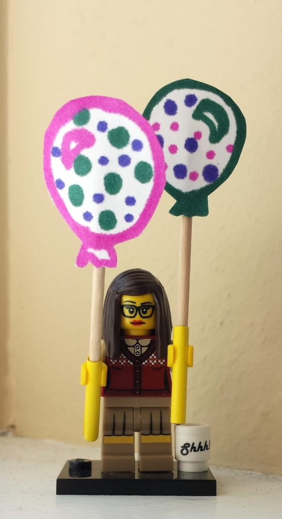 Lego Librarian with balloons