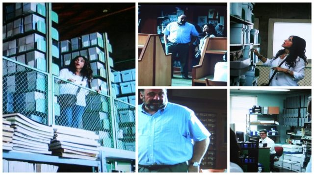 Library archives scene in Enough Said