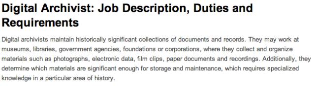 Job description for 'digital archivist'