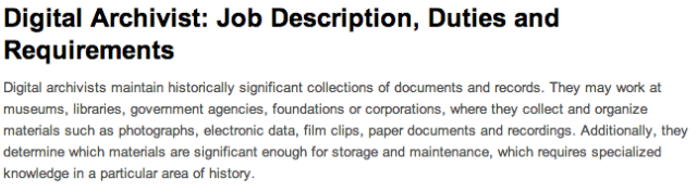 Reel Librarians  |  Job description for 'digital archivist'