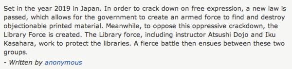 Reel Librarians  |  'Library War' plot summary on IMDb.com