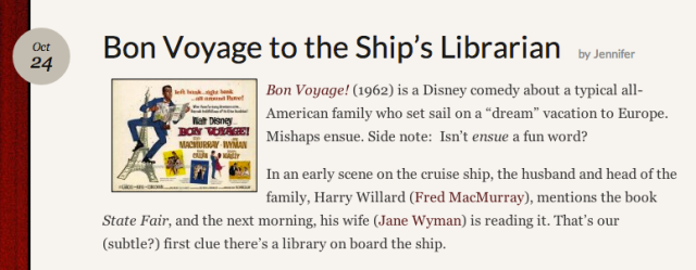 Reel Librarians |  Bon voyage to the Ship's Librarian
