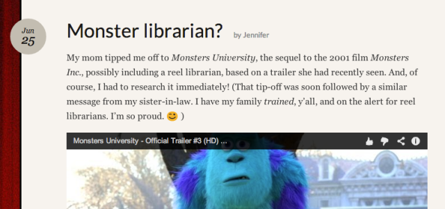 Screenshot of Monster librarian post
