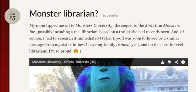 Screenshot of Monster librarian post