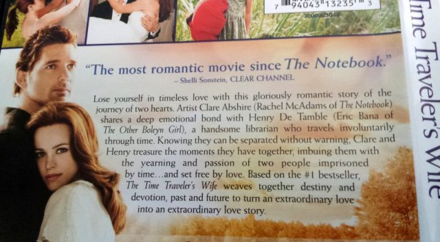 DVD back cover of The Time Traveler's Wife