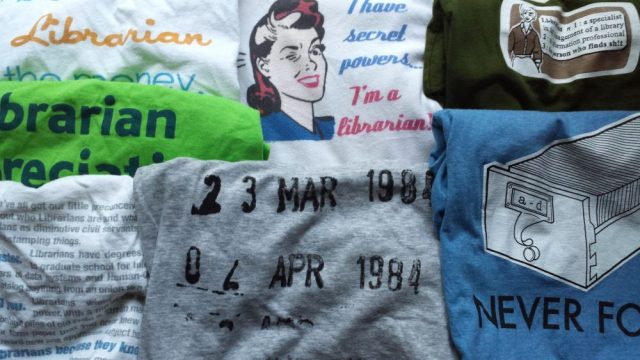Librarian-themed t-shirts from my personal collection