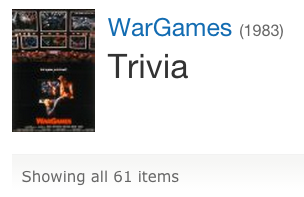 Screenshot of 'WarGames' trivia on IMDB.com
