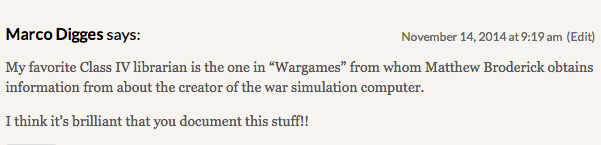 Reel Librarians  |  Reader comment about 'WarGames'