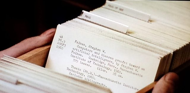 Closeup of card catalog record in WarGames (1983)