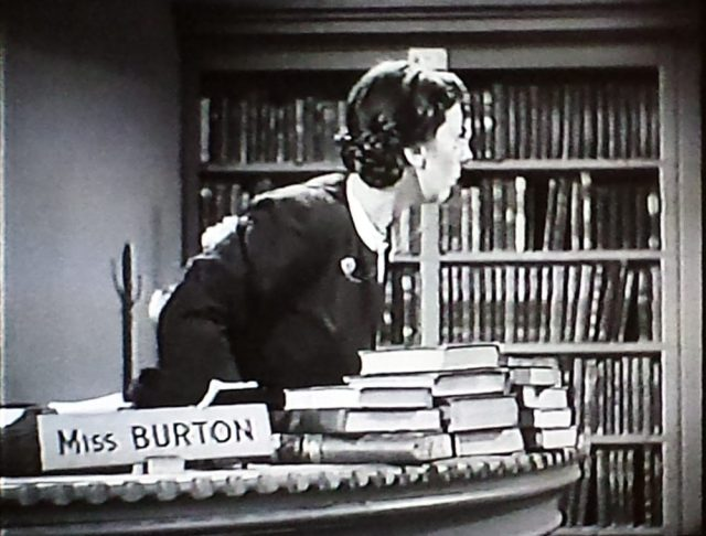 Miss Burton, the reel librarian in Boston Blackie and the Law