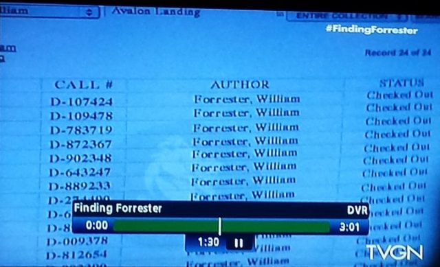 Library catalog results in 'Finding Forrester'""