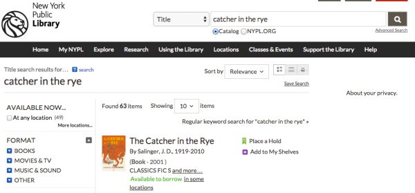 NYPL Library catalog search for 'Catcher in the Rye'