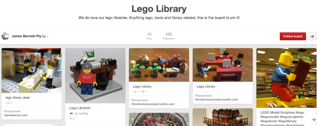 Screenshot of Lego Library Pinterest board