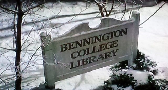 Screenshot of the Bennington College Library sign in Baby Boom (1987)