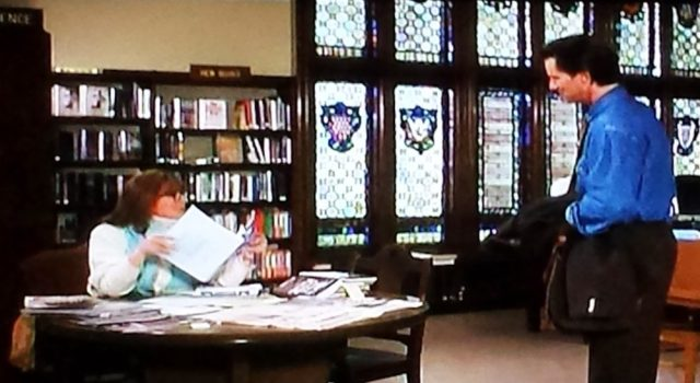 """Meet cute"" in the library in Baby Boom (1987)"