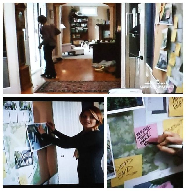 Snapshots of Roe's evidence wall in A Bone to Pick: An Aurora Teagarden Mystery (2015)