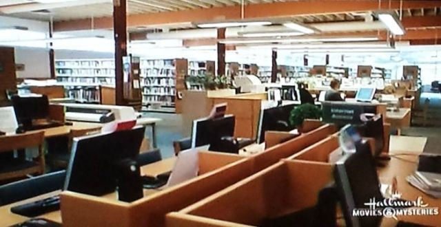 Reel Librarians  |  Public library in  'A Bone to Pick:  An Aurora Teagarden Mystery' (2015)