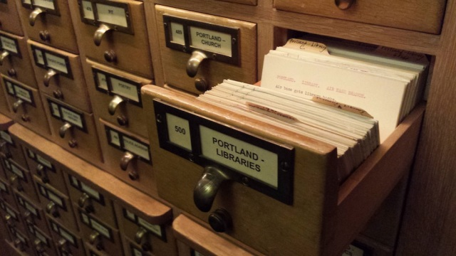 Reel Librarians | Oregon State Library card catalog drawer