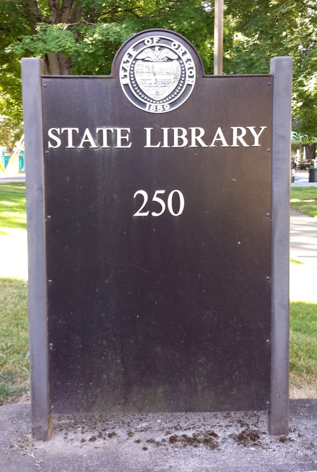 Oregon State Library sign