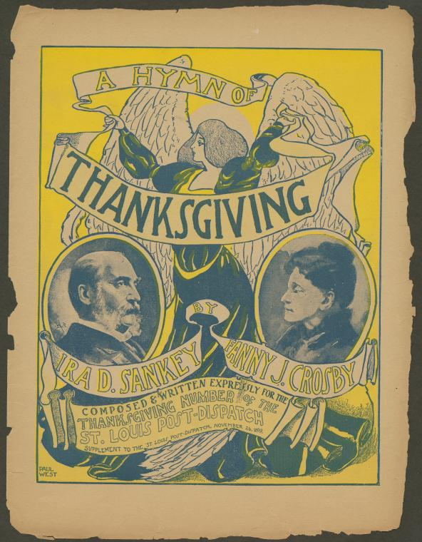 """""""A Hymn of Thanksgiving"""" sheet music cover, November 1899, via Wikimedia, is in the public domain"""