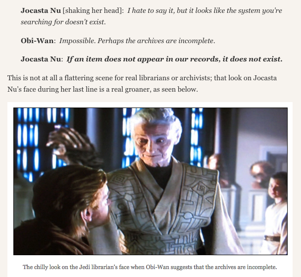 Screenshot from 'The Jedi Librarian' post