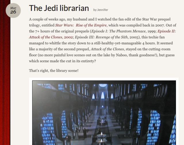 Reel Librarians | Screenshot from 'The Jedi Librarian' post