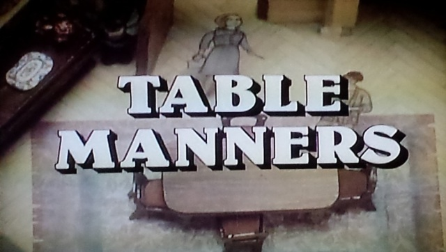 "Reel Librarians | ""Table Manners"" title card from 'The Norman Conquests' (1977)"