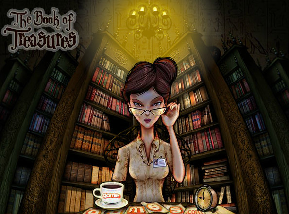 Librarian central character from The Book of Treasures online game