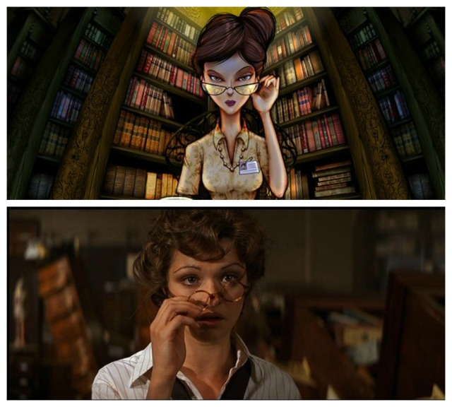 Comparison of Jessica from The Book of Treasures online game vs Evy Carnahan from The Mummy film