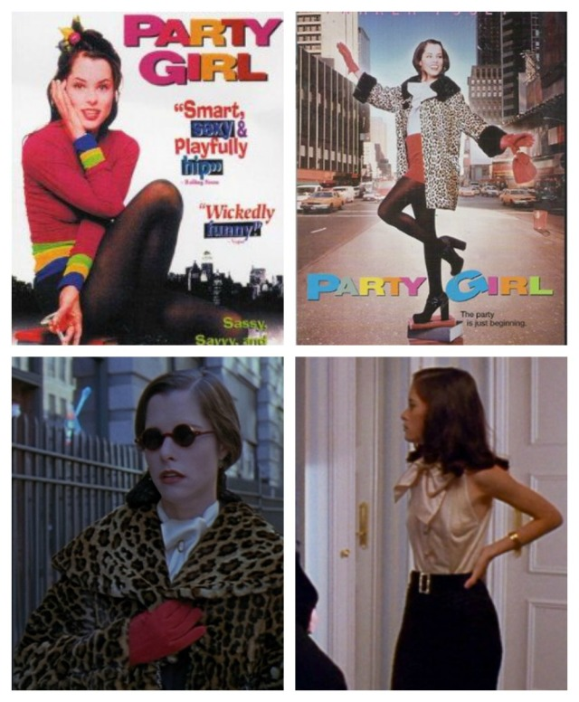 Collage and screenshot of Mary's style in 'Party Girl'